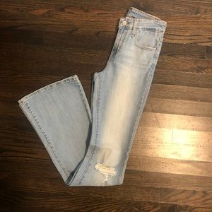Levi's high-waisted light wash flare jeans